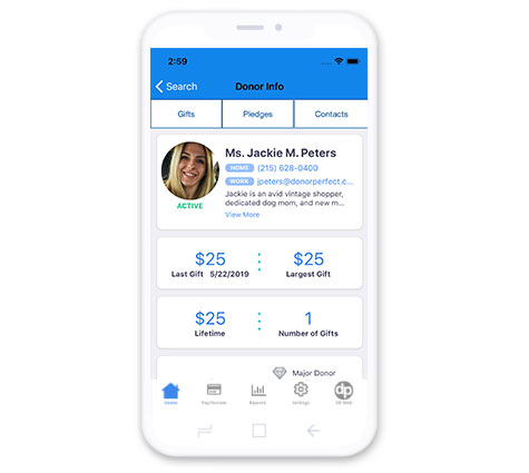 DonorPerfect Mobile App Donor Profile